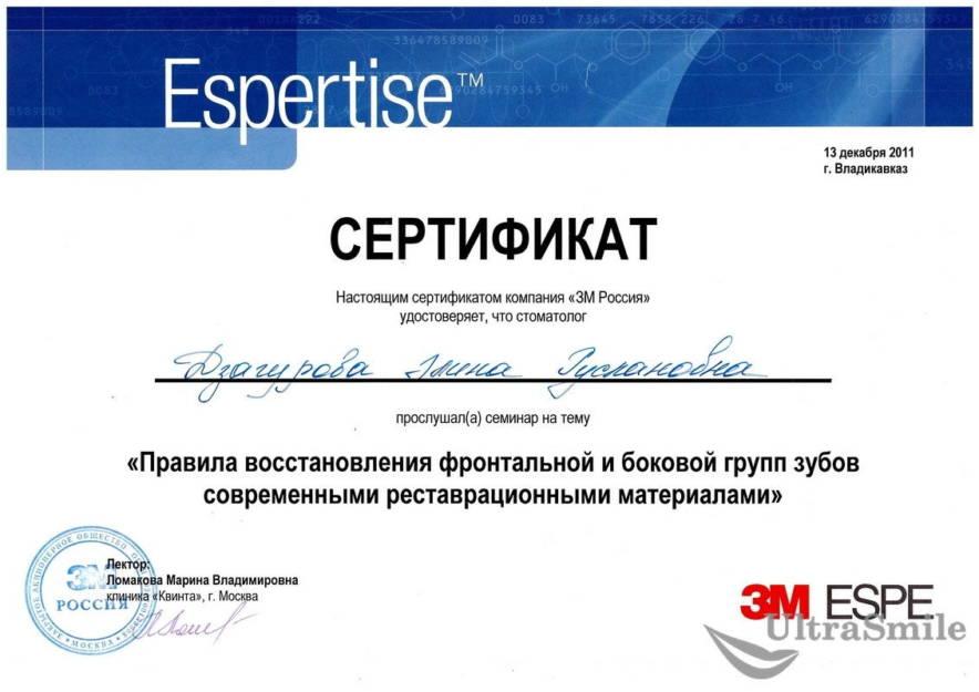 Дзагурова Элина Руслановна сертификат
