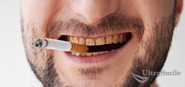 Желтые зубы от курения